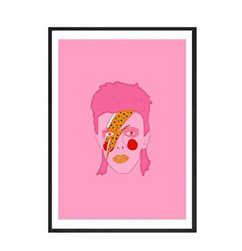 Cartel abstracto nórdico Línea Cara Lienzo Pintura Arte de la pared Estilo rosa Letra Lucky You Imágenes para la sala de estar Decorativo moderno 40 × 60 sin marco