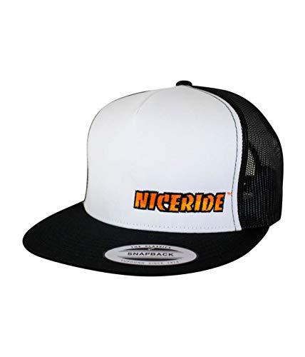 NICERIDE Baseball Cap - The Cledus – Classic 6006 Snapback Trucker Baseball Hat White/Black