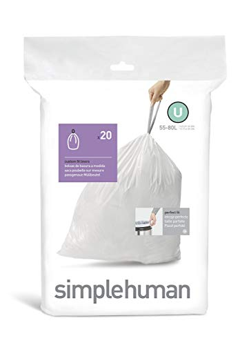 simplehuman Code U Custom Fit Liners Extra Large 55 Liter//14.5 Gallon Ultra Strong Trash Bags 60 Count 3 Refill Packs CW0265