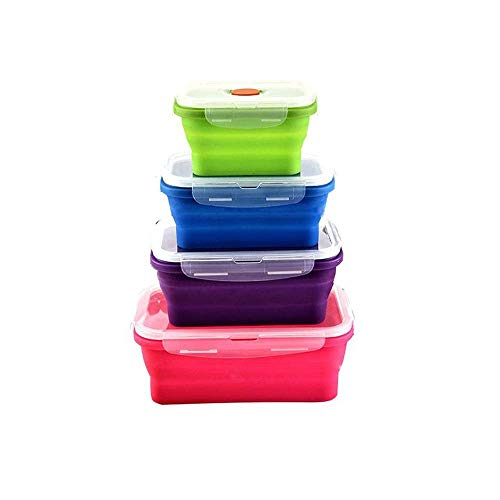 Silicone Lunch Box, Collapsible Folding Food Storage Container with BPA Free Lids, Kitchen Microwave Freezer and Dishwasher Safe Kids Lunch Boxes (4 Pack)