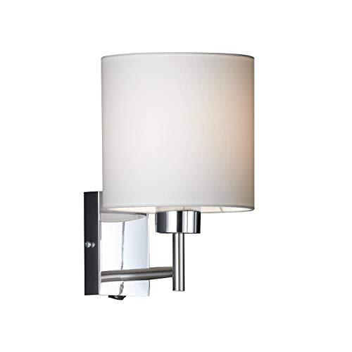 Honsel Leuchten 36161 - Lámpara de pared, color níquel mate/cromo con pantalla blanca