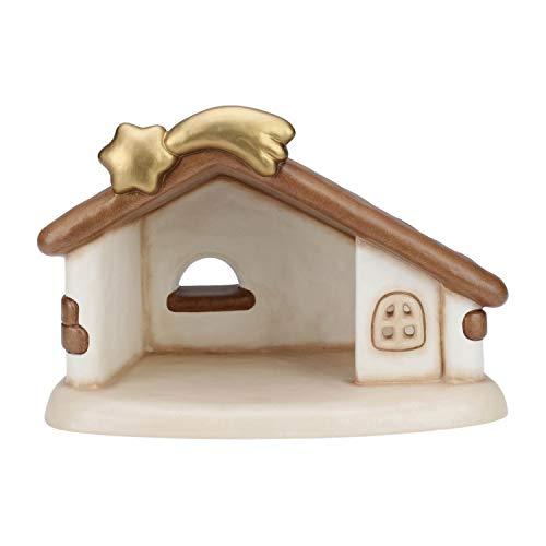 THUN - Statuina Capanna Presepe - Decorazioni Natale Casa - Linea Presepe Classico - Ceramica - 28 x 14 x 20 h cm