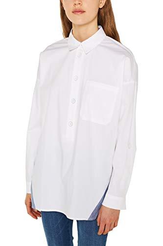 edc by ESPRIT Damen 129CC1F007 Bluse, 100/WHITE, XS
