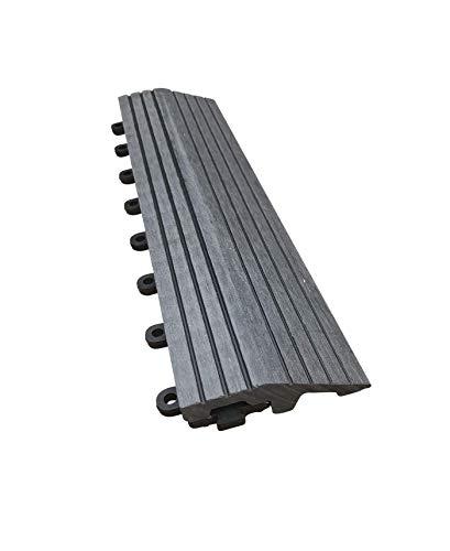CLICK-DECK Composite Mosaik Terrassen-Fliesen – Der berühmte Click-Deck – Ebenholz, Grau & Teak Terrasse, Balkon, Dachterrasse, Whirlpool-Fliesen Bodenbelag (8 x gerade Kanten, graues Mosaik)