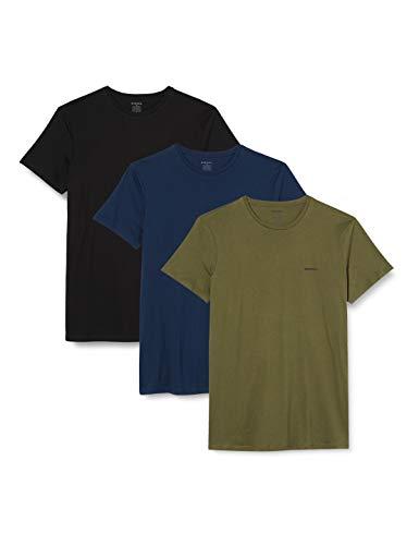 Diesel UMTEE-JAKETHREEPACK, T-shirt Uomo, Multicolore (Black/Dress Blues/Olive Night E4079-0Aalw), L, Pacco da 3