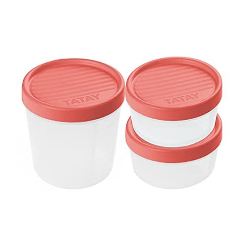 Tatay Set de 3 Fiambreras de Alimentos, 2 x 0.5L, 1 x 1L, Tapa de Rosca, Libre de BPA, Apto Microondas y Lavavajillas, Color Coral