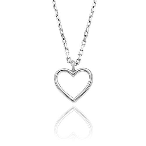 LillyMarie Damen Dezente Silberkette Sterling-Silber 925 Offenes Herz-Anhänger Längen-verstellbar Geschenkverpackung Pärchen Geschenke
