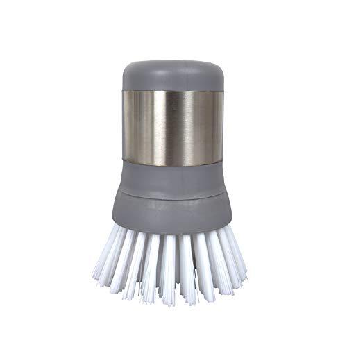 Mini cepillo de acero inoxidable, cepillo ergonómico de palma con mango de acero inoxidable, 1 unidad