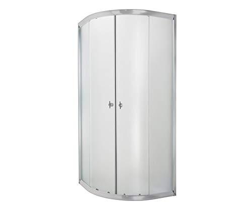 ECOLAM Duschkabine Marbella Dusche Schiebetür 90x90x180 cm Viertelkreis R55 Silikon Echtglas strukturiert leicht zu pflegen (90 x 90 cm)