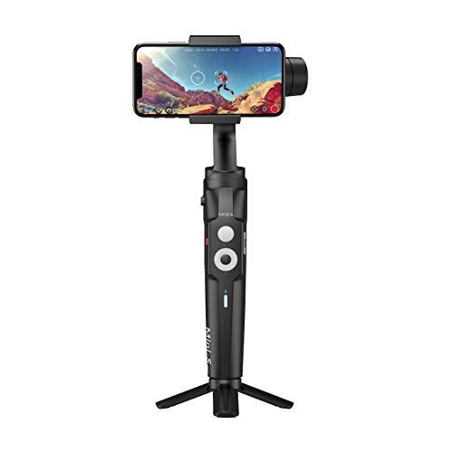 Moza Mini-S - Stabilizzatore cardanico pieghevole a 3 assi per iPhone e smartphone Android, con funzione Face Tracking, time-lapse App Control Vlog, colore: Nero
