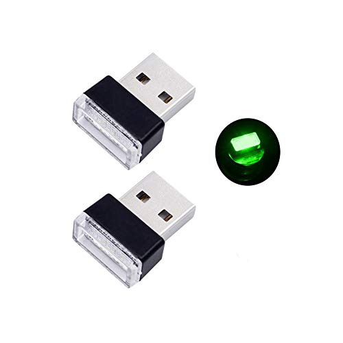 Bello Luna 2 Unids Mini USB Light Car Interior Lámpara Ambiental para Auto Notebook Power Bank - Verde