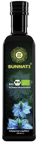 Sunnati® BIO Schwarzkümmelöl UNGEFILTERT kaltgepresst 1.Pressung 100{60047729001a38a75dad8ccc62c03a4797b079b8354e72e8ba91bc6618126294} rein 250ml