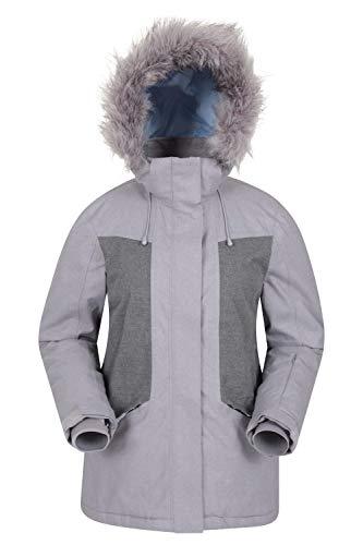 Mountain Warehouse Blizzard Strukturierte Damen-Skijacke - Wasserfeste Winterjacke, Atmungsaktive Skibekleidung, überklebte Nähte, Abnehmbarer Schneefang - Snowboarden Grau 40