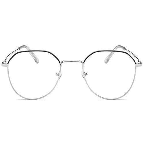 KOOSUFA Mode Metall Blaulichtfilter Brille Groß Brillengestelle Damen Herren Anti Blaulicht Brille Ohne Sehstärke Computer Gaming Anti Müdigkeit Brillen mit Etui (Silber schwarz)