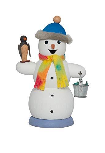 Drechslerei Kuhnert Räuchermännchen Schneemann mit Pinguin - 13 cm