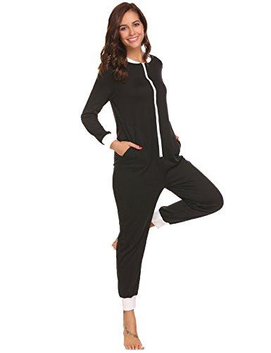 Schlafoverall Jumpsuit Damen Overall Pyjama Onesie Einteiler Lang Strampler Kuschelig Schlafanzug Nachtwäsche Langarmshirt Playsuit mit Reißverschluss - 2