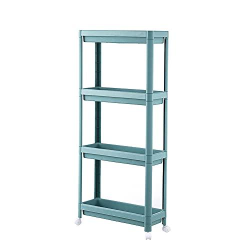 GUJIN Carro con 4 niveles, estantería de cocina, organizador de almacenamiento estrecho sobre ruedas, carro de almacenamiento, diseño recortado, estantería de cocina o baño, 45,5 x 17,5 x 101 cm