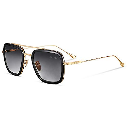 SHEEN KELLY Retro Gafas sol Tonny Stark Marco metal