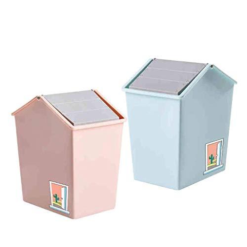 Bote de basura de basura de bote de basura Long Long Barril Tipo Shake Tapa Bandeste Windows Baños Cocinas Oficinas Inválidas Casa Creativa Almacenamiento Bucket Bucktop Basura Basura (Color: Azul + R