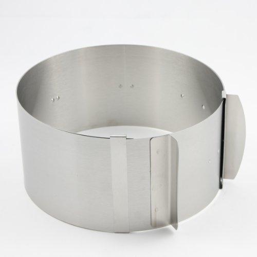 Zenker Anello per torta graduato, 8,5 cm di altezza, diametro regolabile da 16 a 30 cm, in acciaio inox, prodotto di qualità Made in Germany