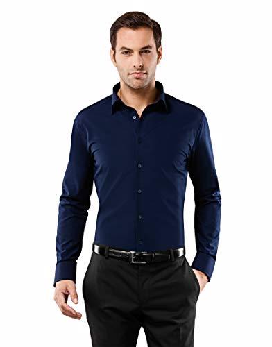 Vincenzo Boretti Herren-Hemd bügelfrei 100% Baumwolle Slim-fit tailliert Uni-Farben - Männer lang-arm Hemden für Anzug Krawatte Business Hochzeit Freizeit dunkelblau 37/38