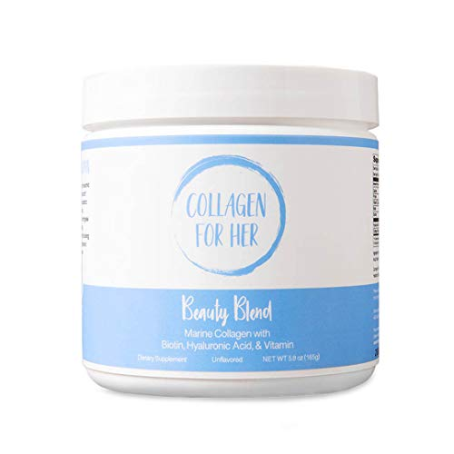Marine Collagen Beauty Blend - Hydrolyzed Marine Collagen, Hyaluronic Acid, Biotin, Vitamin-C for Hair, Nails, Skin, Joints, Anti Aging for Women (30 Servings)