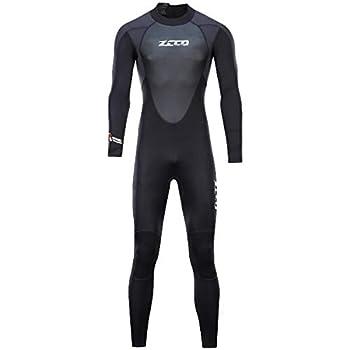 Wetsuit Men 3mm Neoprene Full Wetsuit with Sharkskin Men s Dive Sector Back Zip for Men-Snorkeling Scuba Diving Swimming Surfing XXXL Size ZMF304BK-3XL