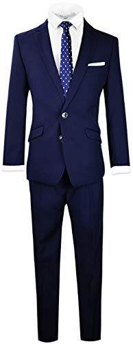 Black n Bianco Signature Boys' Slim Fit Suit in Navy Size 14