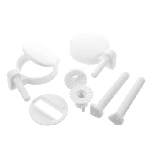 Toilet Repair Kit 2 unids DIY Tornillos de Asiento de Inodoro de plástico Fijaciones Fit Asientos de Inodoro Asientos de bisagras Tipo de Herramientas de reparación: 3# 4.6x4.6cm WC (Color : White)