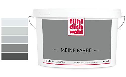 Fühl Dich Wohl Meine Farbe grau, matte Wandfarbe grau, hohe Deckkraft, verschiedene Grautöne zur Auswahl (2,5L, Betongrau 25-47)