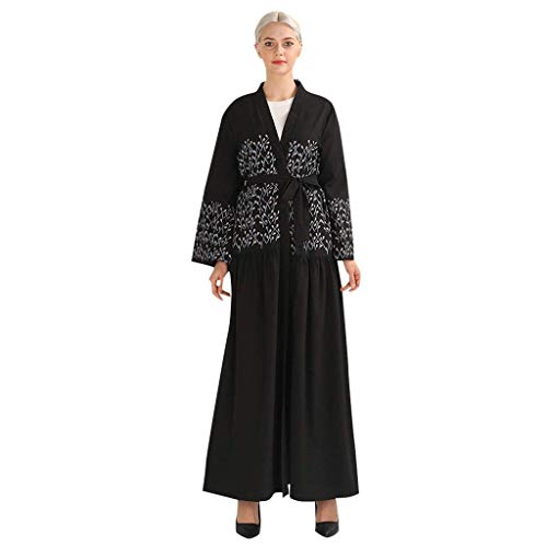 HX fashion Mujeres Broken Bordado Vestido De Bata Langes Abaya Cardigan Tamaños...