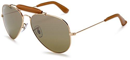 Ray-Ban Unisex Outdoorsman Craft Sonnenbrille, Gold (Gestell: Gold, Gläser: Polarized Grün Klassisch 001/M9), Large (Herstellergröße: 58)