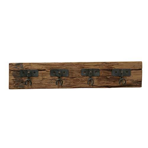 CasaJame Appendiabiti in legno e metallo, 4 ganci, stile vintage, 6 x 57 x 11 cm