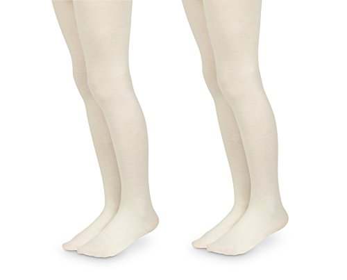 Jefferies Socks Girls Pro Ballet Dance Ultra Soft Microfiber Footed Tights 2 Pair Pack (2-4 Years, Ivory)