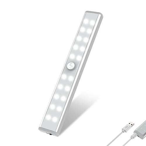 20 LED Closet Light, OxyLED Motion Sensor Closet Lights, Wireless Under Cabinet Lights, USB Rechargeable Stick-on Stairs Step Light Bar, LED Night Light, Safe Light for Wardrobe, Kitchen