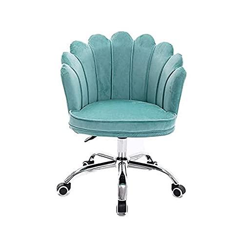 NZKW Silla de Oficina, Silla giratoria con cómodo Respaldo de pétalo Medio, Silla de Escritorio Ajustable para computadora, sillón Moderno de Terciopelo para Oficina en casa (Color: azu