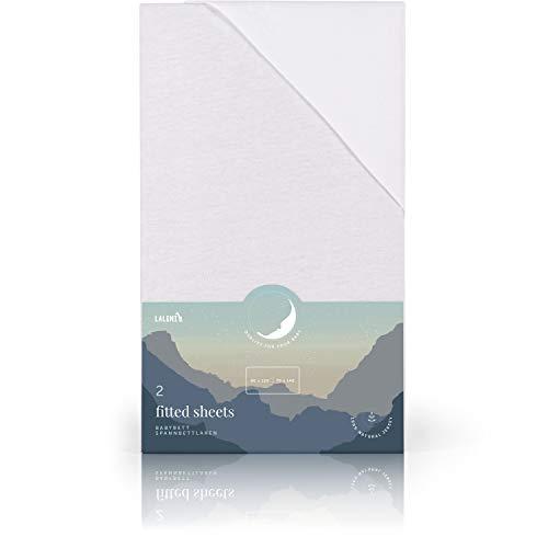 Laleni 2er-Set Spannbettlaken für Babybett Kinderbett - Atmungsaktives Spannbetttuch, 100% Baumwolle, 70x140 cm, White