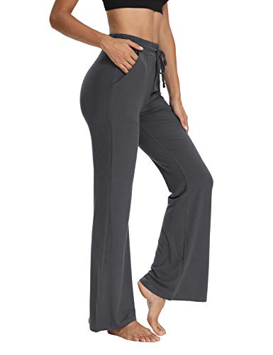 THANTH Womens Yoga Sweatpants Bootcut Loose Comfy Wide Leg Lounge Pants Drawstring Workout Bootleg Pants with Pockets Gray XL
