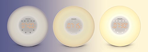 Philips SmartSleep Wake-Up Light Alarm Clock with Sunrise Simulation and Radio, White (HF3505)