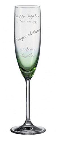 Boxer Lot de 2 flûtes à champagne avec inscription en anglais « Émeraude » Personnalisable 55 ans