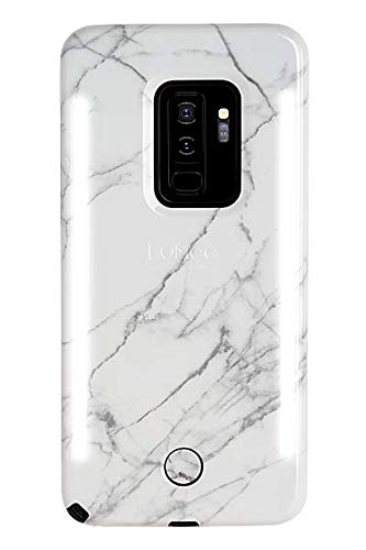 LuMee Duo Phone Case, White Marble | Front & Back LED Lighting, Variable Dimmer | Shock Absorption, Bumper Case, Selfie Phone Case | Samsung Galaxy S9 Plus
