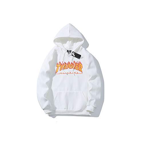ZALA Sudadera Capucha Pullover Hood para Hombres y Mujeres con el Mismo Párrafo hoodie, Classic Print Plus Suéter con Capucha de Skategoat Terciopelo (White,M)