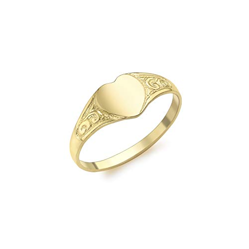 Carissima Gold Child's 9 ct Yellow Gold Heart Signet Ring, Size F
