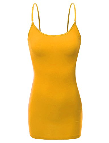 XT1002L Adjustable Spaghetti Strap Basic Long Cami Tunic Tank Top Plus Size Mustard 2XL