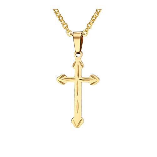 NineJewelry Colgante de Collar de Cruz Personalizado para Hombres y Mujeres - Collar de Cadena de Acero Inoxidable con Grabado Personalizado Collares de oración Religiosa