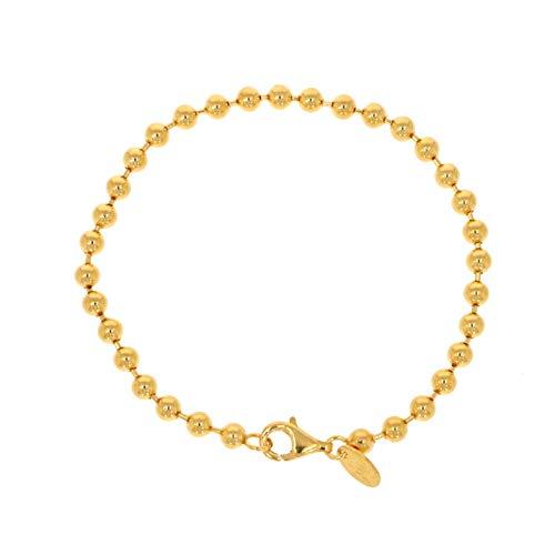 XEN Kugelarmband 19 cm und 4 mm breit aus 925 Silber gelbvergoldet