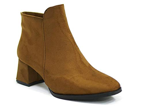 Çancı CDB1001 – botki – damskie z obcasem – botki damskie – zimowe buty damskie – buty zimowe damskie – buty z obcasem – buty damskie, brązowy - brązowy - 36 EU