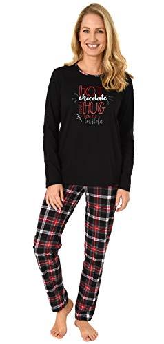 NORMANN-Wäschefabrik Damen Pyjama lang mit Karohose und Frontprint - auch in Übergrössen bis Gr. 60/62, Farbe:schwarz, Größe2:48/50