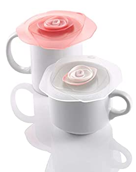 Charles Viancin Roses Silicone Lid  4 Inch  10.5 CM  Frozen White/Candy Pink