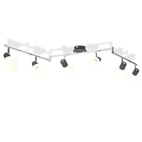 Luckyfu kroonluchter met 6 spots E14 zwart moderne plafondlampen plafondverlichting plafondverlichting plafondverlichting wandlampen